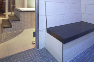 Large ceramic wall tiles with simple bench designs